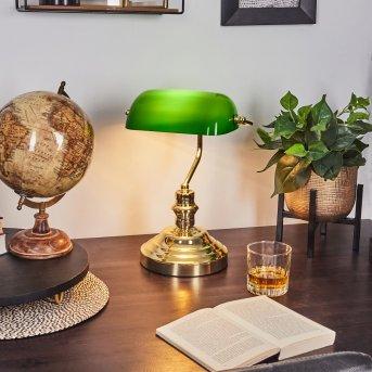 Bankerlampe Messing, Grün, Gold, 1-flammig