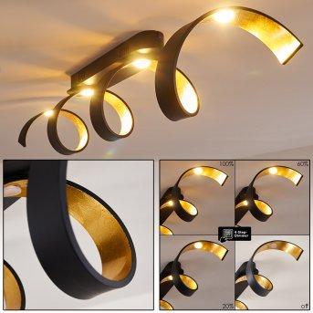 Rezat Deckenleuchte LED Schwarz-Gold, 1-flammig