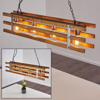 Mallard Pendelleuchte Silber, Holz hell, 4-flammig