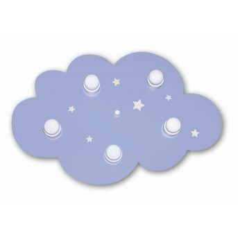Waldi Deckenleuchte Wolke hellblau Blau, 5-flammig