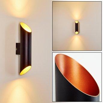 Saulcy Außenwandleuchte LED Schwarz-Gold, 2-flammig