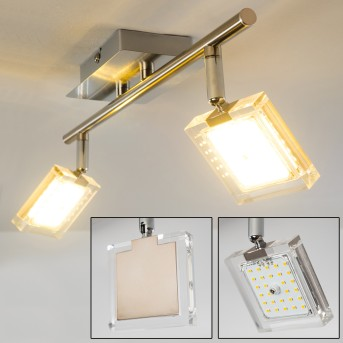 Deckenleuchte Kiruna LED Nickel-Matt, Chrom, 2-flammig