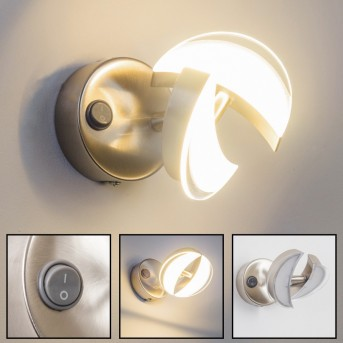 Prescott Wandleuchte LED Nickel-Matt, Chrom, 2-flammig