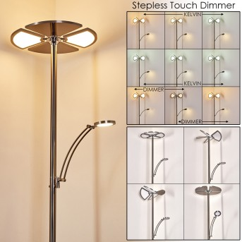 Vernay Stehleuchte LED Nickel-Matt, Chrom, 2-flammig