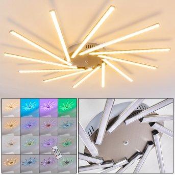 Kinna Deckenleuchte LED Edelstahl, 12-flammig, Fernbedienung, Farbwechsler
