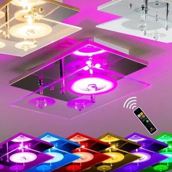 Everlight Deckenleuchte Chrom, Transparent, Klar, 3-flammig, Fernbedienung, Farbwechsler